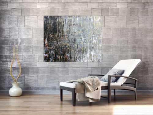Abstraktes Acrylbild moderne Farben grau weiß braun schwarz zeitgenössisch