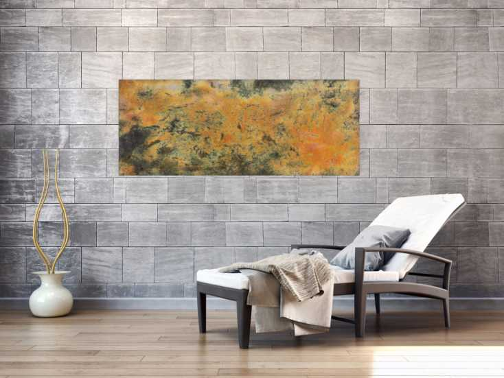 #112 Abstraktes Rostbild mit Struktur 60x150cm von Alex Zerr