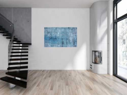 Abstraktes Acrylbild modern weiß türkis grau hellblau helle Farben