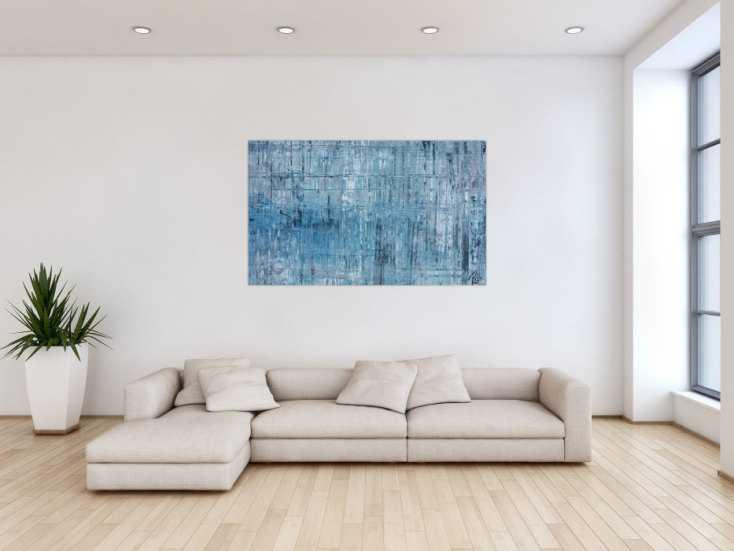 #1120 Abstraktes Acrylbild modern weiß türkis grau hellblau helle Farben 90x140cm von Alex Zerr