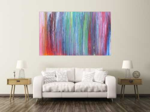 Abstraktes Acrylbild sehr bunt Fließtechnik modern und sehr farbenfroh