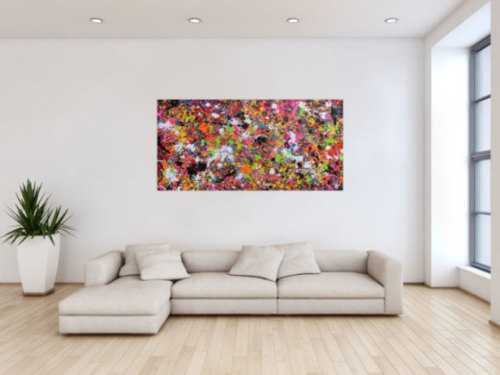 Abstraktes Acrylbild modernes Gemälde Action Painting Splash Art sehr bunte Flecken