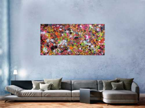 Abstraktes Acrylbild modernes Gemälde Action Painting Splash Art sehr bunte Flecken