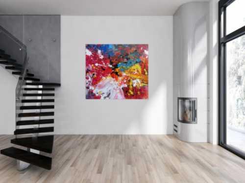 Abstraktes Acrylbild sehr bunt Action Painting modernes Gemälde Zeitgenössisch viele Farben
