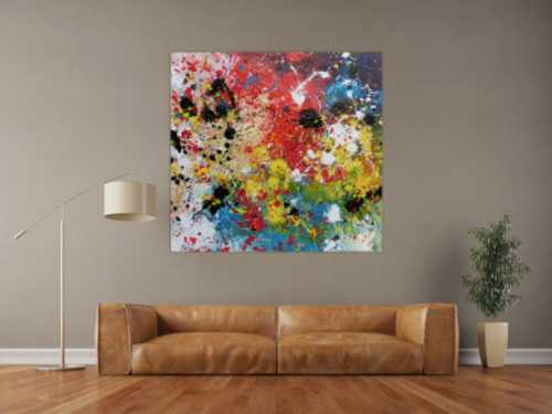 Abstraktes Acrylbild sehr bunt Action Painting Splash Art viele bunte Farben und Flecken