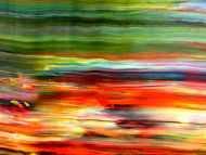 Detailaufnahme Abstraktes Acrylbild sehr modern in orange rot grün blau Spachteltechnik zeitgenössisch