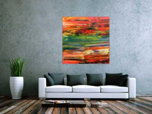 Abstraktes Acrylbild sehr modern in orange rot grün blau Spachteltechnik zeitgenössisch