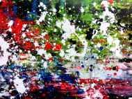 Detailaufnahme Abstraktes Acrylbild Action Painting Mischtechnik sehr modern dunkel und bunt