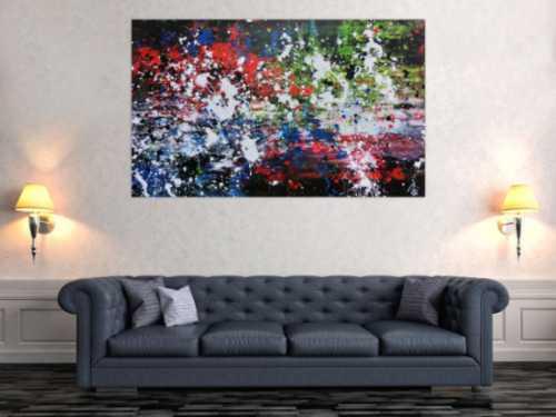 Abstraktes Acrylbild Action Painting Mischtechnik sehr modern dunkel und bunt