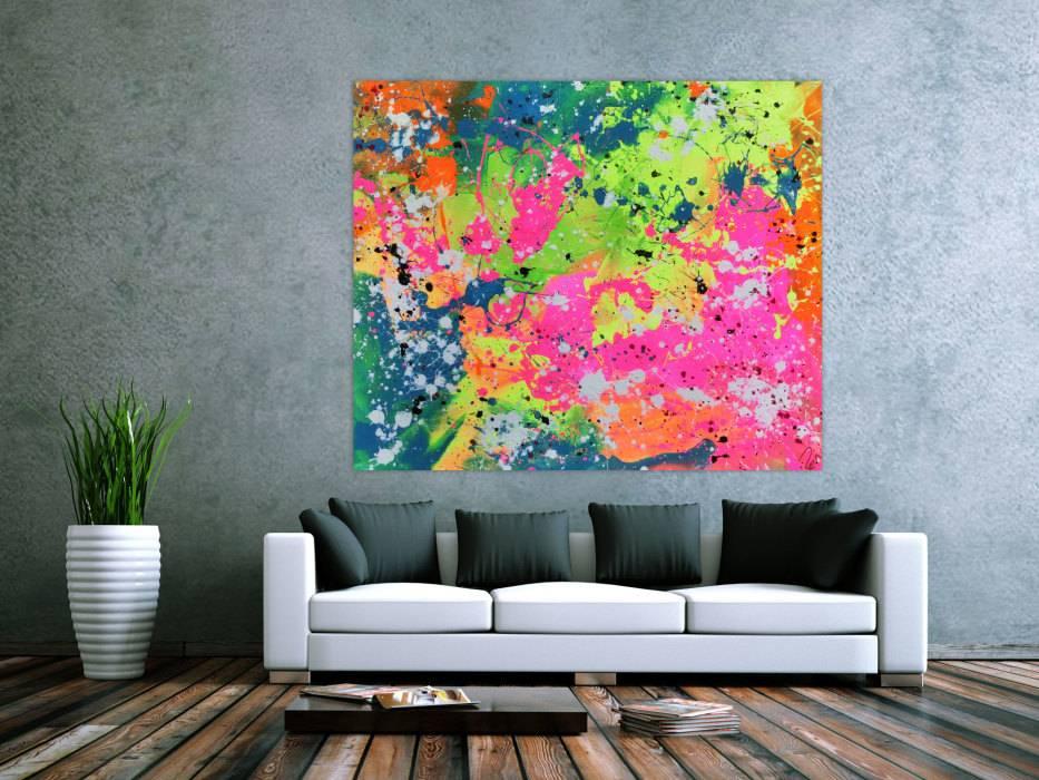 Abstraktes acrylbild sehr modern in neon farben action painting