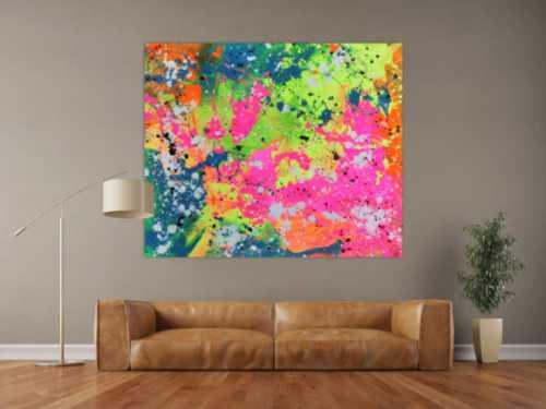 Abstraktes Acrylbild sehr modern in neon Farben Action Painting Splash Art fluoreszierende Farben