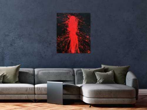 Abstraktes Acrylbild in schwarz und rot Action Painting Shplash Art sehr modern