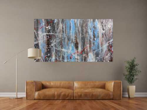 Abstraktes Acrylbild Mischtechnik sehr modern in hellbau weiß braun und grau helle Farben