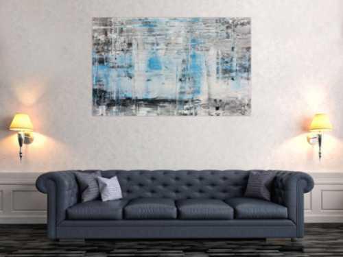 Modernes abstraktes Acrylbild in Spachteltechnik mit verschiedenen Grautönen viel weiß und türkis