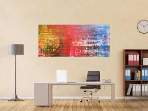 Abstraktes Acrylbild Spachteltechnik sehr modern in gelb rot blau und weiß
