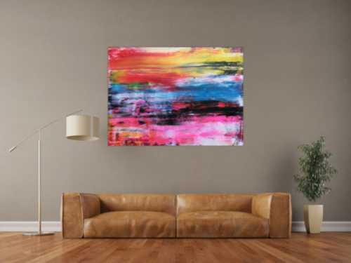 Abstraktes Acrylbild sehr bunt modern in Spachteltechnik helle leuchtende Farben