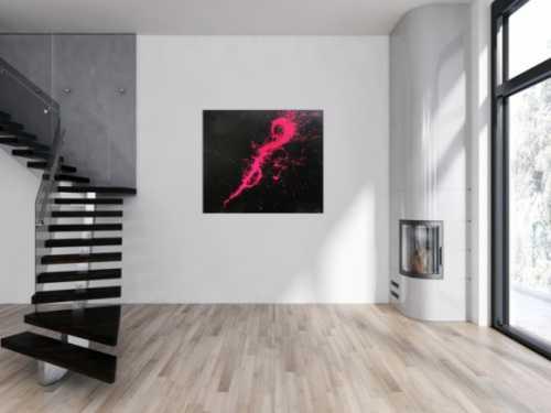 Abstraktes Acrylbild Minimalistisch sehr modern schwarz und pink Action Painting Splash Art