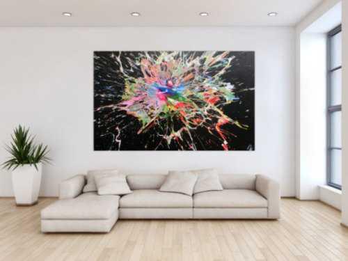 Abstraktes Acrylbild sehr bunt modern Action Painting Splash Art viele Farben bunter Fleck