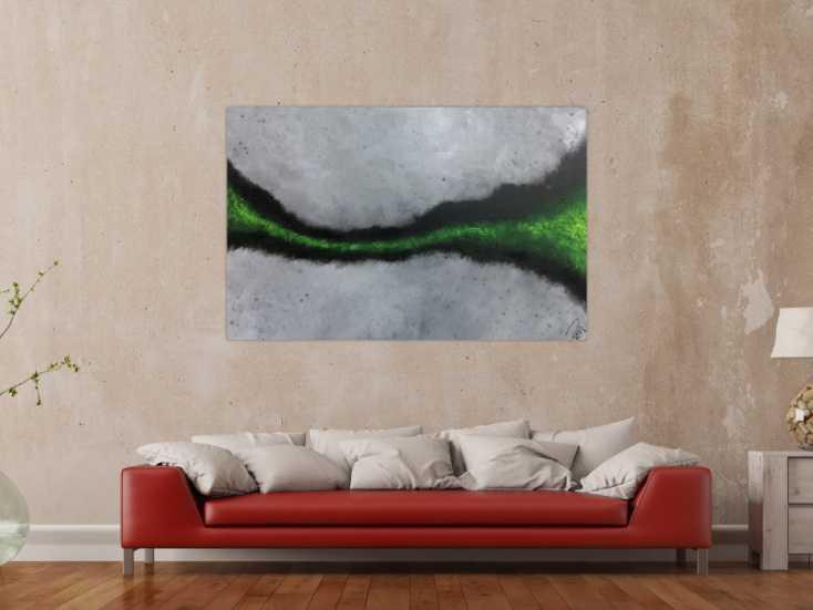 #1136 Abstraktes Acrylbild sehr modern grauer Hintergrund mit grünem ... 100x150cm von Alex Zerr