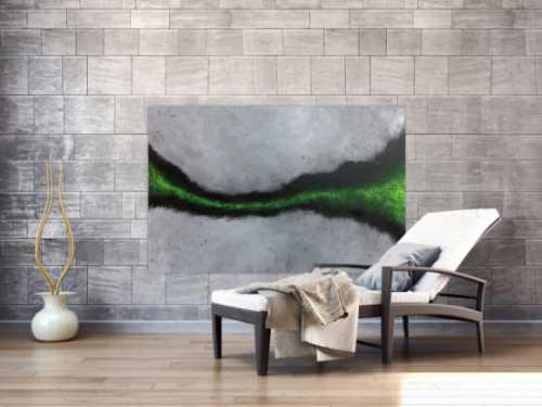 Abstraktes Acrylbild sehr modern grauer Hintergrund mit grünem Streifen