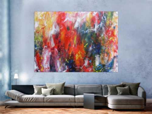Abstraktes Acrylbild sehr bunt Mischtechnik modern Action Painting