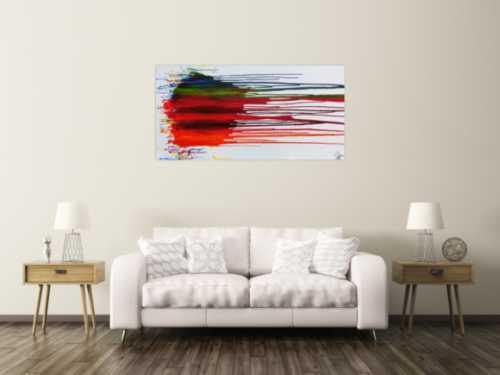 Abstraktes Acrylbild sehr bunt fließende Farben Fluid Painting modernes Gemälde