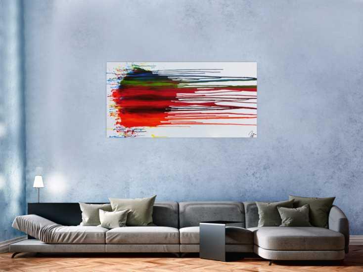 #1138 Abstraktes Acrylbild sehr bunt fließende Farben Fluid Painting ... 74x150cm von Alex Zerr