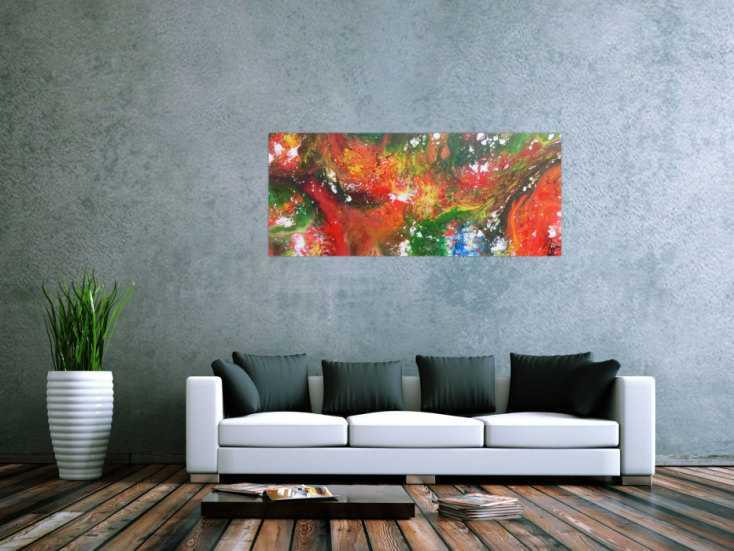 #1139 Abstraktes Acrylbild Fluid Painting sehr bunt modernes Gemälde ... 60x140cm von Alex Zerr