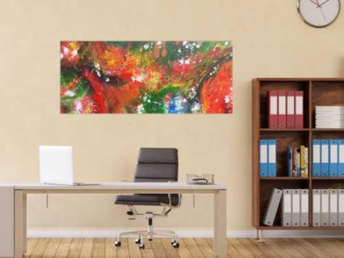 Abstraktes Acrylbild Fluid Painting sehr bunt modernes Gemälde fließende Farben