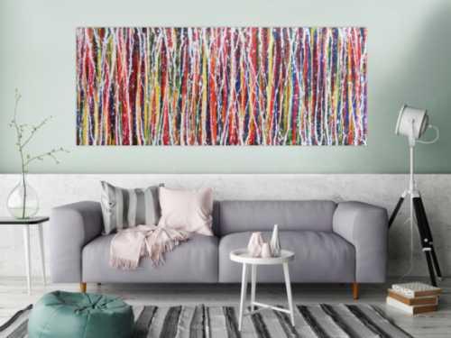 Abstraktes Acrylbild Action Painting buntes Gemälde sehr modern und zeitgenössisch