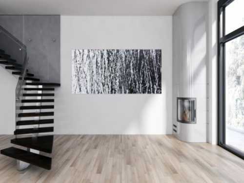 Abstraktes Acrylbild schwarz weiß sehr modern schlicht Action Painting modern art