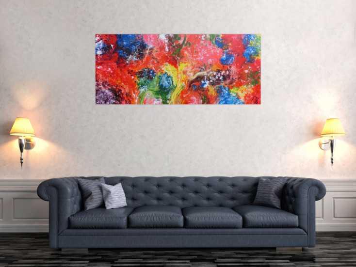 #1142 Abstraktes Acrylbild sehr bunt Fließtechnik Fluid Painting sehr ... 60x140cm von Alex Zerr