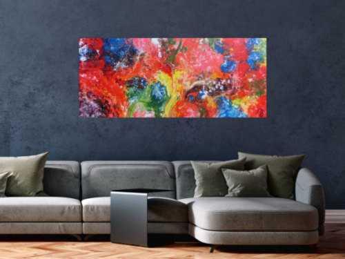Abstraktes Acrylbild sehr bunt Fließtechnik Fluid Painting sehr modern