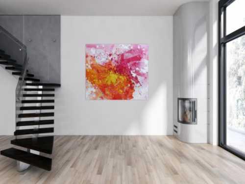 Abstraktes Acrylbild sehr modern in gelb weiß und pink Action Painting Splash Art