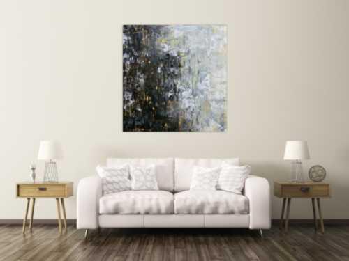 Abstraktes Acrylbild moderne Farben im Großformat schwarz glau beige weiß mediterran