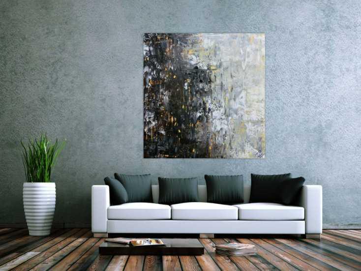 abstraktes acrylbild moderne farben im gro format schwarz glau beige wei mediterran handgemalt. Black Bedroom Furniture Sets. Home Design Ideas