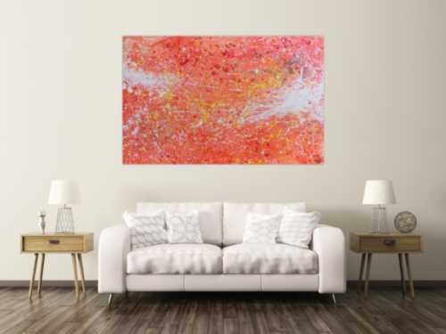 Abstraktes Acrylbild sehr modern Action Painting in orange weiß blass rosa rot gelb