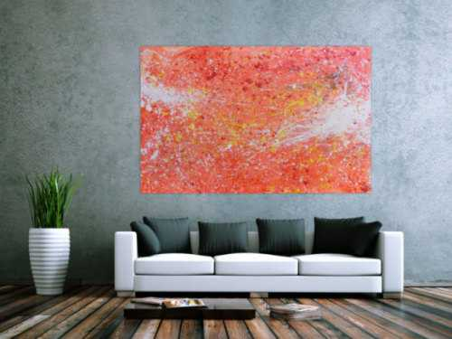 Abstraktes Acreylbild sehr modern Action Painting in orange weiß blass rosa rot gelb