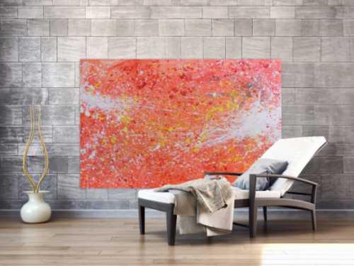 Abstraktes Acreylbild sehr modern Action Painting in orange weiß blass rosa rot gelb