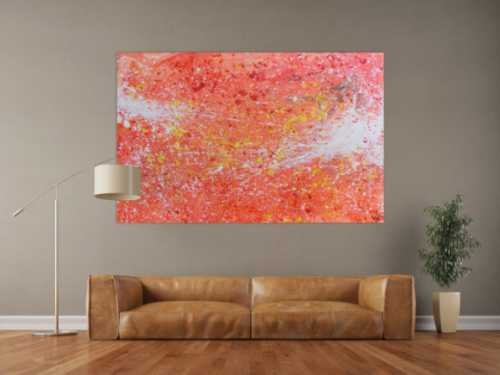 Abstraktes Acrylbild sehr modern Action Painting in orange weiß blass rosa rot gelb