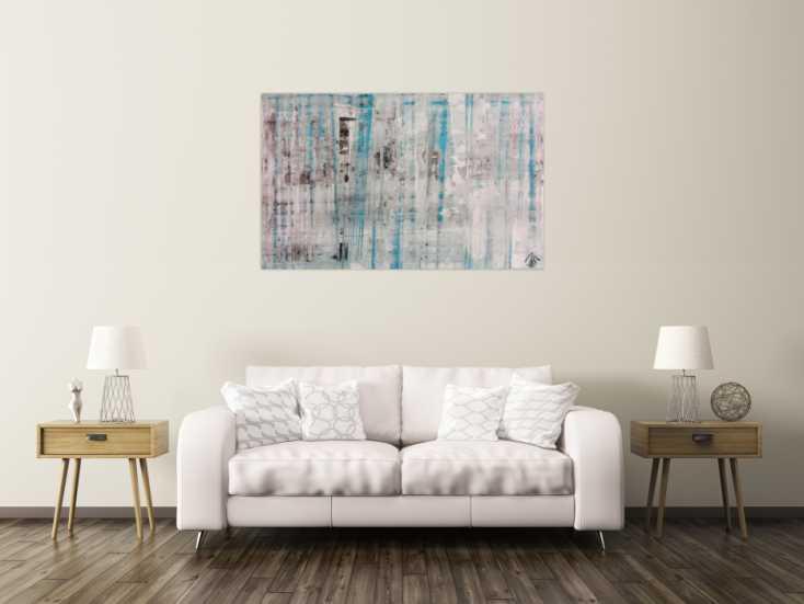 abstraktes acrylbild spachteltechnik sehr modern in wei. Black Bedroom Furniture Sets. Home Design Ideas
