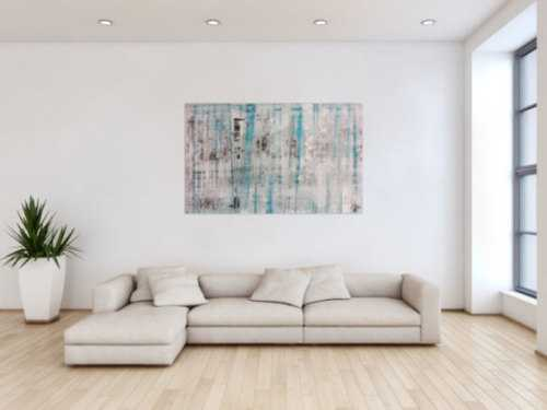 Abstraktes Acrylbild Spachteltechnik sehr modern in weiß grau türkis