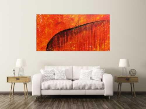 Abstraktes Acrylbild sehr modern Action Painting orange mit schwarzem Strich