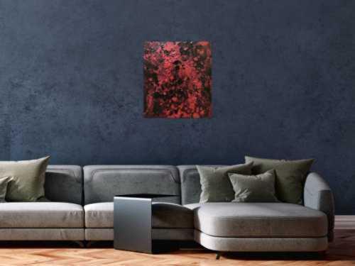 Abstraktes Acrylbild dunkel krapprot schwarz sehr modern Action Painting Splash Art