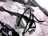 Detailaufnahme Abstraktes Acrylbild mit echtem Rost Mischtechnik Action Painting Splash Art sehr modern