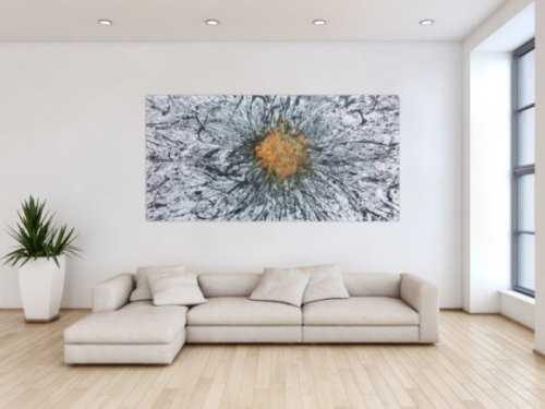 Abstraktes Acrylbild mit echtem Rost Mischtechnik Action Painting Splash Art sehr modern