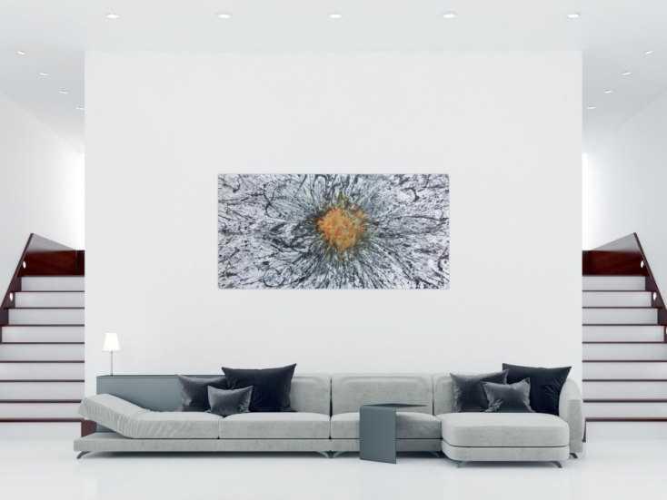 #1149 Abstraktes Acrylbild mit echtem Rost Mischtechnik Action Painting ... 100x200cm von Alex Zerr