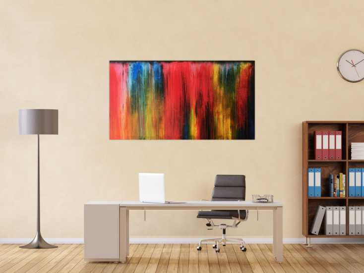 acrylbild modern bunt abstrakt auf leinwand 80x150cm. Black Bedroom Furniture Sets. Home Design Ideas