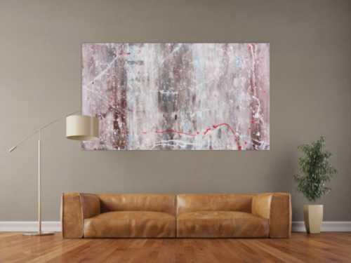 Abstraktes Acrylbild sehr modern Spachteltechnik helle Farben weiß braun grau