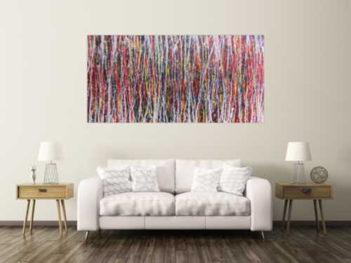 Abstraktes Bild sehr bunt modern Action Painting zeitgenössisch und groß
